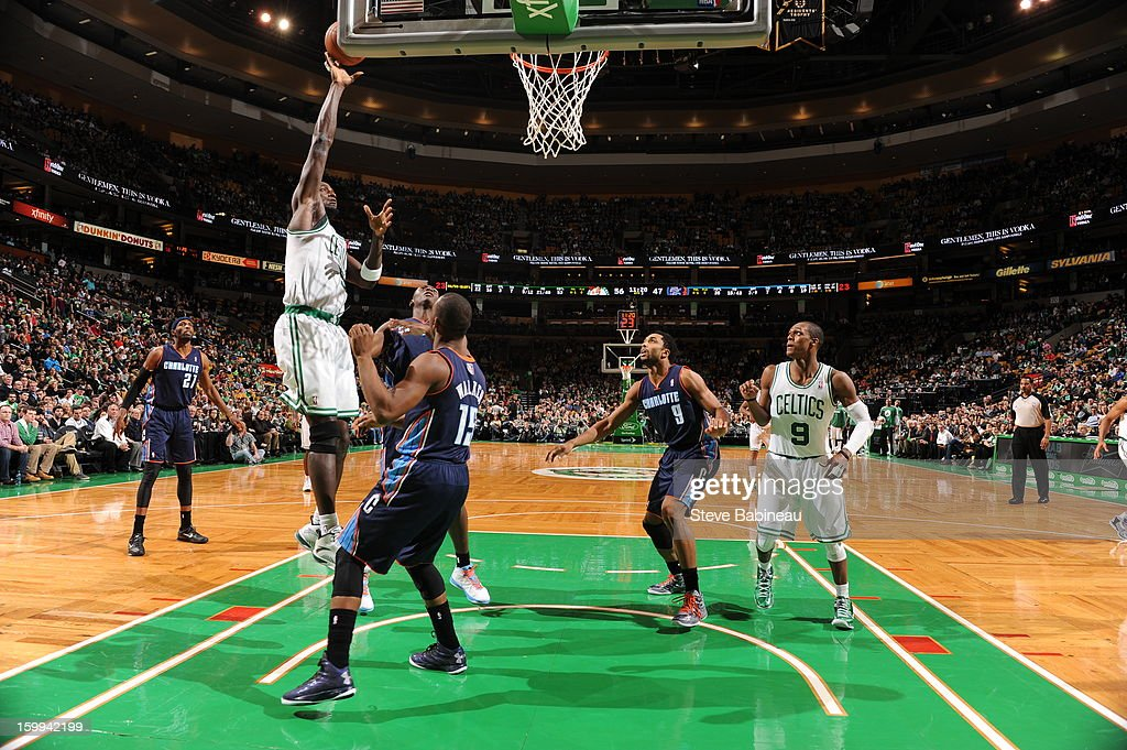Kevin Garnett #5 of the Boston Celtics shoots over Kemba Walker #15 of the Charlotte Bobcats on January 14, 2013 at the TD Garden in Boston, Massachusetts.
