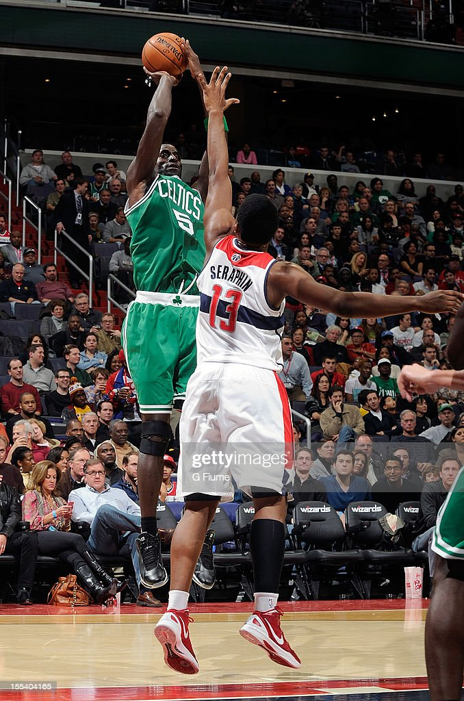 Kevin Garnett #5 of the Boston Celtics shoots over Kevin Seraphin #13 of the Washington Wizards at the Verizon Center on November 3, 2012 in Washington, DC. Boston won the game 89-86.