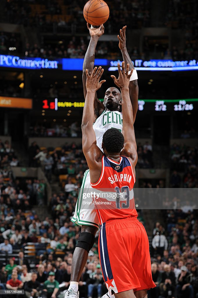 Kevin Garnett #5 of the Boston Celtics shoots over Kevin Seraphin #13 of the Washington Wizards on November 7, 2012 at the TD Garden in Boston, Massachusetts.