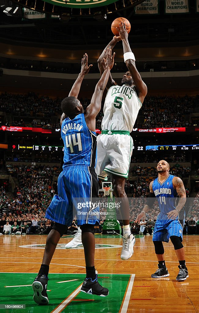 Kevin Garnett #5 of the Boston Celtics shoots the ball against Andrew Nicholson #44 of the Orlando Magic on February 1, 2013 at the TD Garden in Boston, Massachusetts.