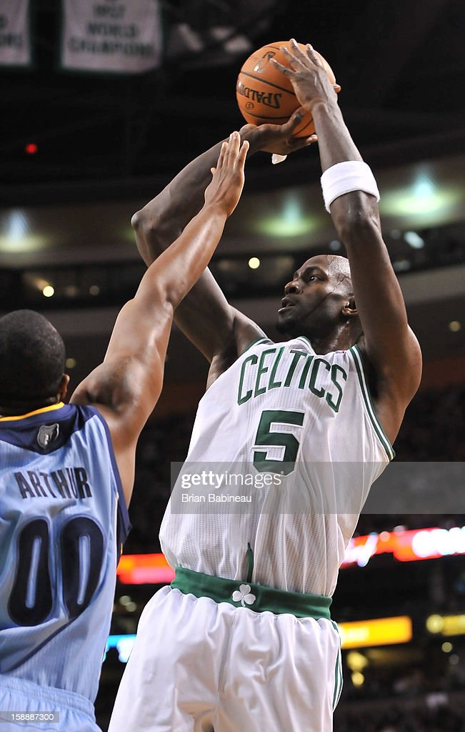 Kevin Garnett #5 of the Boston Celtics shoots the ball against Darrell Arthur #00 of the Memphis Grizzlies on January 2, 2013 at the TD Garden in Boston, Massachusetts.