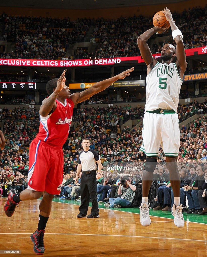 Kevin Garnett #5 of the Boston Celtics shoots the ball against the Los Angeles Clippers on February 3, 2013 at the TD Garden in Boston, Massachusetts.