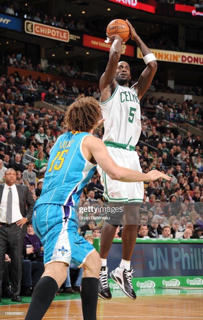 Kevin Garnett #5 of the Boston Celtics shoots the ball against the New Orleans Hornets on January 16, 2013 at the TD Garden in Boston, Massachusetts.