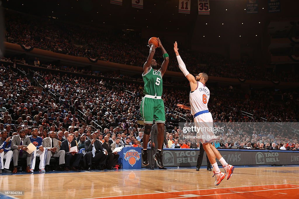 Kevin Garnett #5 of the Boston Celtics shoots the ball against the New York Knicks in Game Two of the Eastern Conference Quarterfinals during the 2013 NBA Playoffs on April 23, 2013 at Madison Square Garden in New York City.