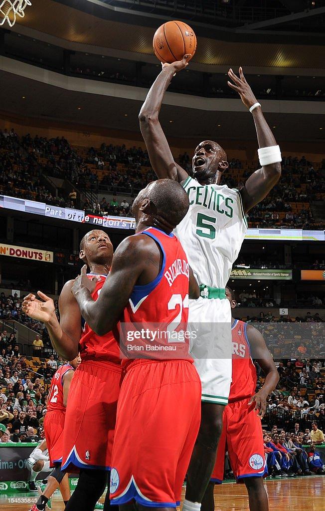 Kevin Garnett #5 of the Boston Celtics shoots the ball against the Philadelphia 76ers on October 21, 2012 at the TD Garden in Boston, Massachusetts.