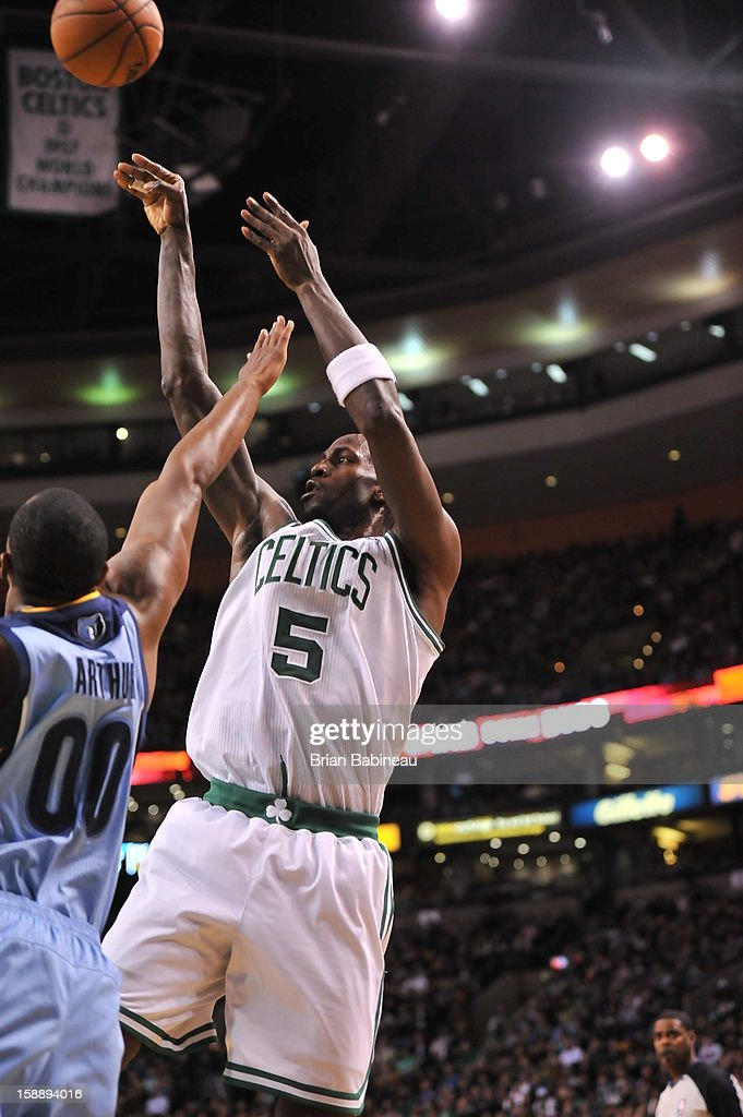<a gi-track='captionPersonalityLinkClicked' href=/galleries/search?phrase=Kevin+Garnett&family=editorial&specificpeople=201473 ng-click='$event.stopPropagation()'>Kevin Garnett</a> #5 of the Boston Celtics shoots the ball against the Memphis Grizzlies on January 2, 2013 at the TD Garden in Boston, Massachusetts.