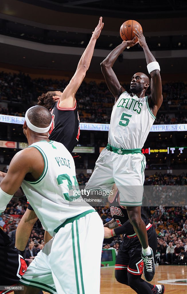 Kevin Garnett #5 of the Boston Celtics shoots the ball against the Chicago Bulls on January 18, 2013 at the TD Garden in Boston, Massachusetts.