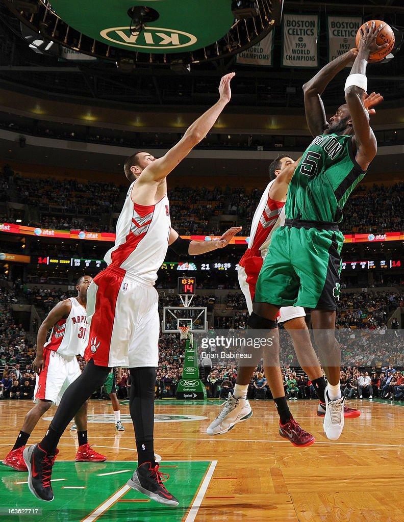 Kevin Garnett #5 of the Boston Celtics shoots the ball against the Toronto Raptors on March 13, 2013 at the TD Garden in Boston, Massachusetts.