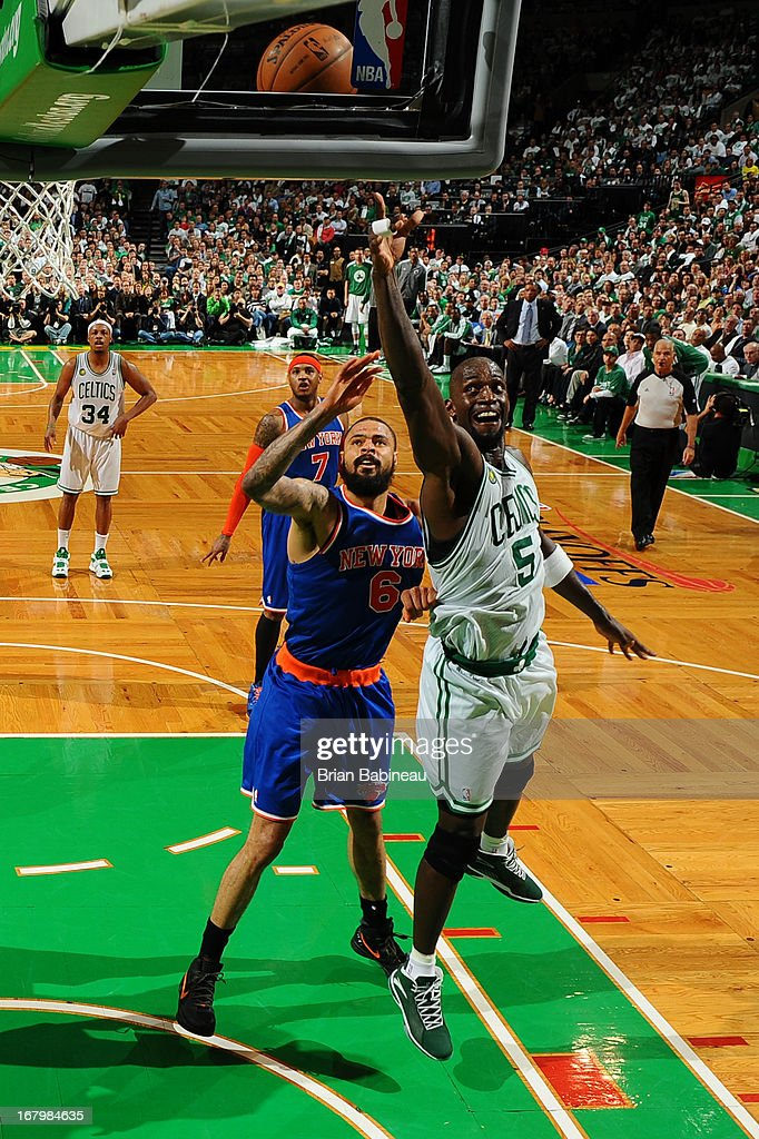 Kevin Garnett #5 of the Boston Celtics shoots the ball against Tyson Chandler #6 of the New York Knicks in Game Six of the Eastern Conference Quarterfinals during the NBA Playoffs on May 3, 2013 at the TD Garden in Boston, Massachusetts.
