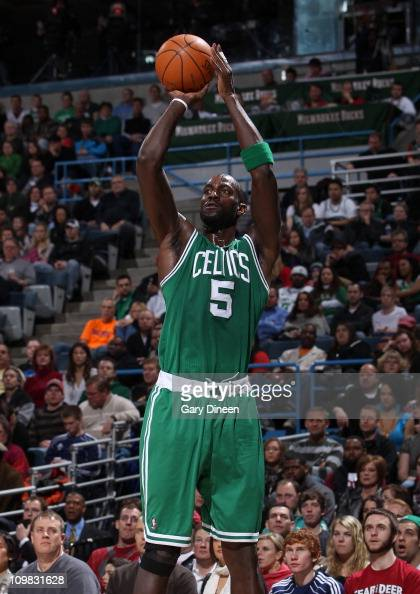 Kevin Garnett of the Boston Celtics shoots the ball during the game against the Milwaukee Bucks on March 6 2011 at the Bradley Center in Milwaukee...