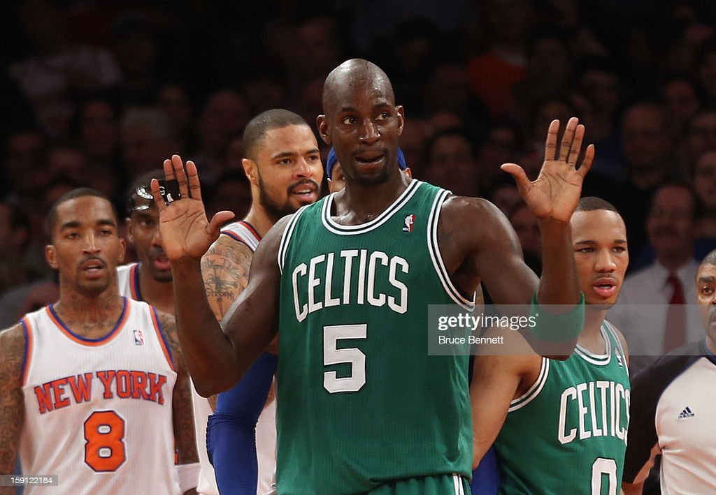 Kevin Garnett #5 of the Boston Celtics signals to the ref during the game against the New York Knicks at Madison Square Garden on January 7, 2013 in New York City.