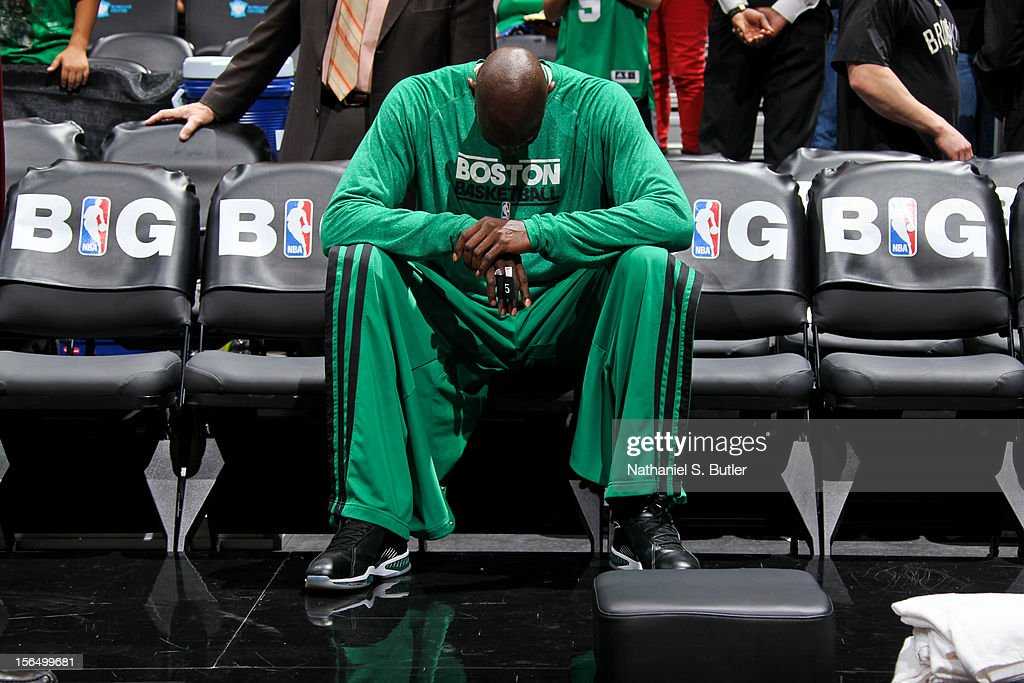Kevin Garnett #5 of the Boston Celtics sits on the bench before playing against the Brooklyn Nets on November 15, 2012 at the Barclays Center in the Brooklyn borough of New York City.