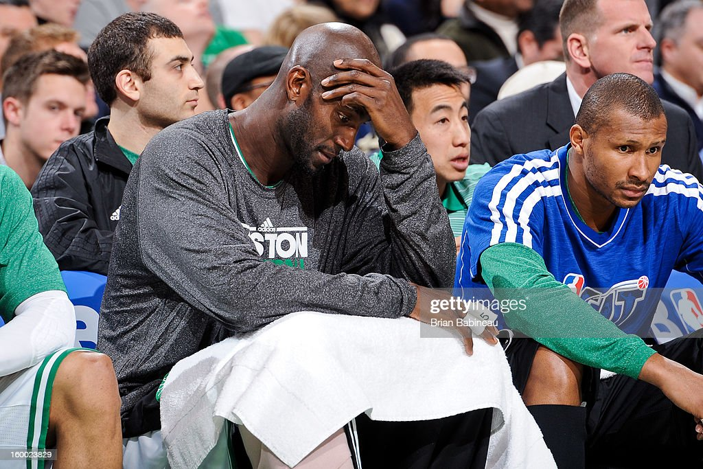 <a gi-track='captionPersonalityLinkClicked' href=/galleries/search?phrase=Kevin+Garnett&family=editorial&specificpeople=201473 ng-click='$event.stopPropagation()'>Kevin Garnett</a> #5 of the Boston Celtics sits on the bench during a game against the New York Knicks on January 24, 2013 at the TD Garden in Boston, Massachusetts.