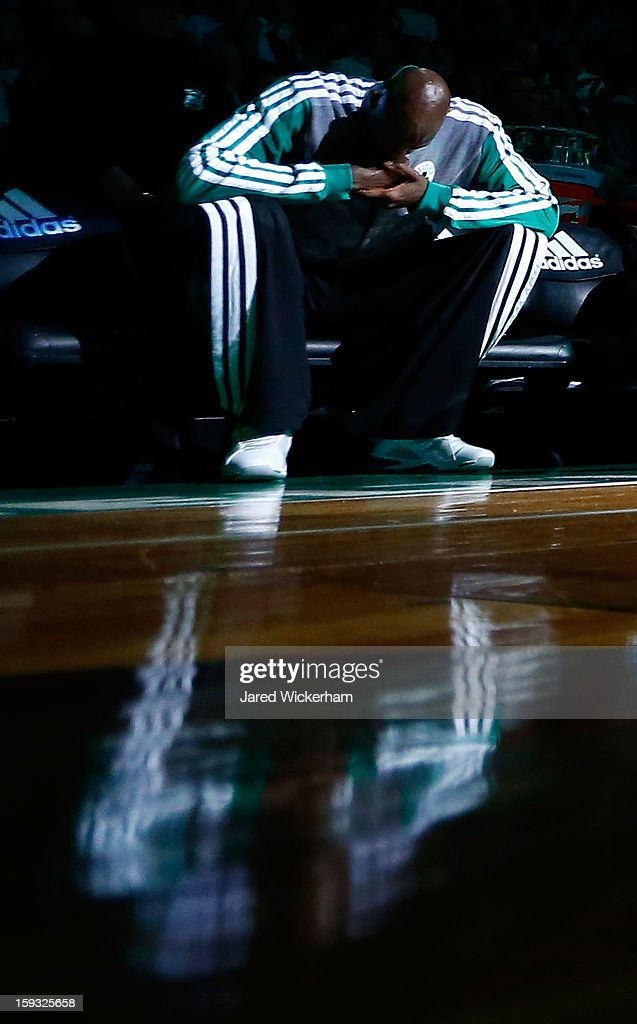 Kevin Garnett #5 of the Boston Celtics sits on the bench during pre-game introductions during the game against the Houston Rockets on January 11, 2013 at TD Garden in Boston, Massachusetts.