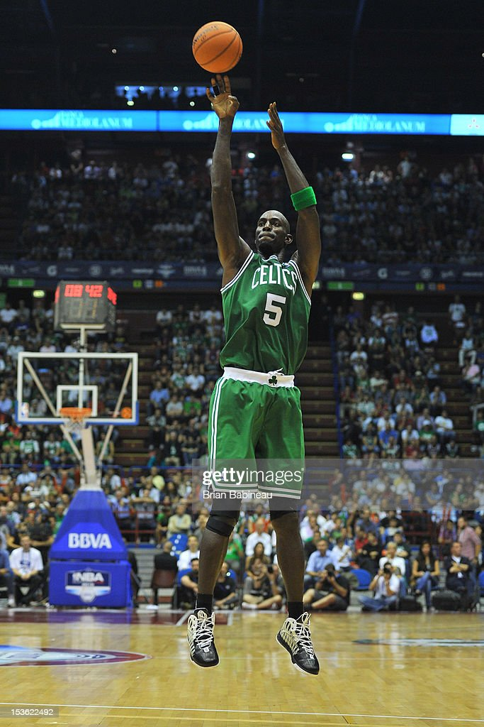 Kevin Garnett #5 of the Boston Celtics soots a jumper during the game between the Boston Celtics and the EA7 Emporio Armani Milano on October 7, 2012 at Mediolanum Forum in Milan, Italy.