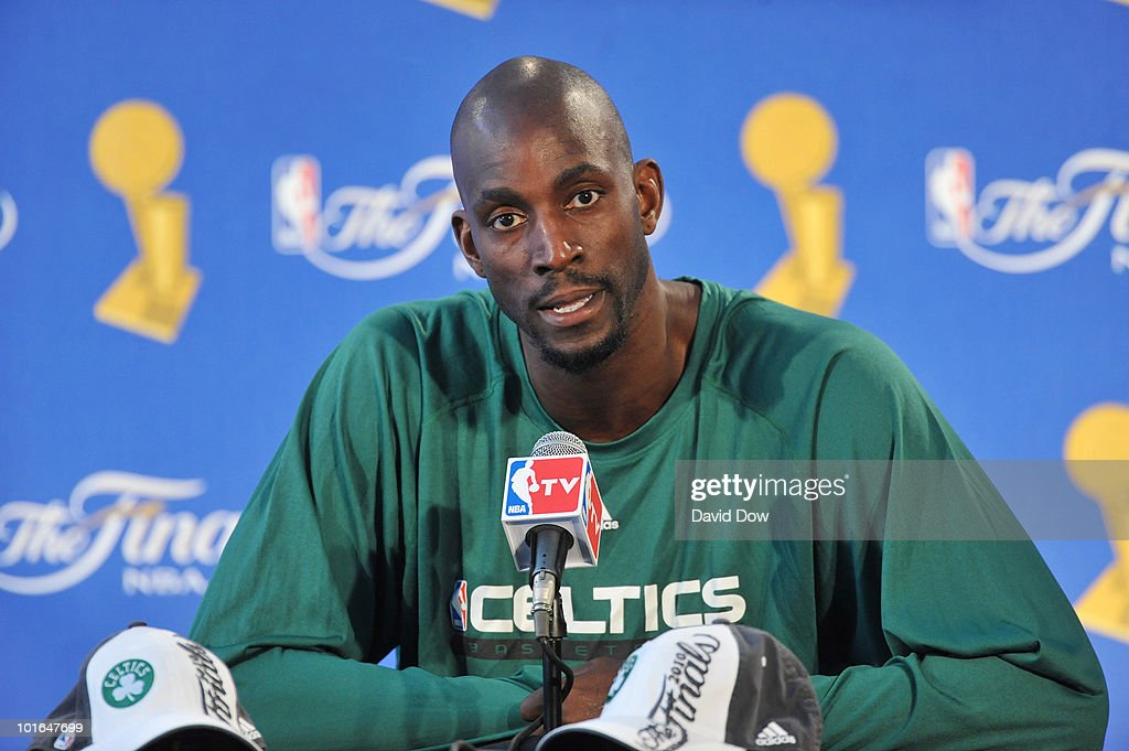 Kevin Garnett of the Boston Celtics speaks to a group of reporters during media press conference for the 2010 NBA Finals on June 5 2010 at Toyota...