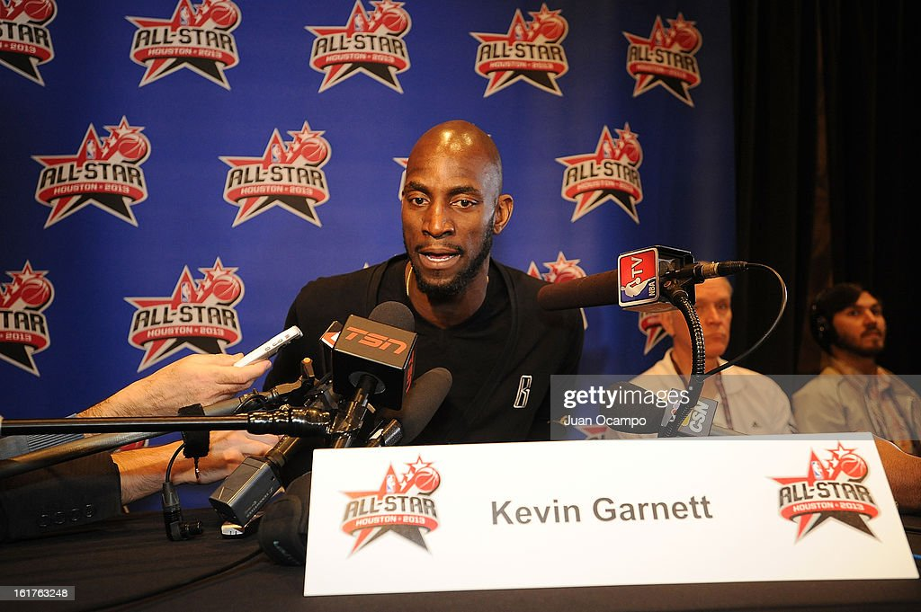 Kevin Garnett #5 of the Boston Celtics speaks with reporters during media availability as part of the 2013 NBA All-Star Weekend at the Hilton Americas Hotel on February 15, 2013 in Houston, Texas.