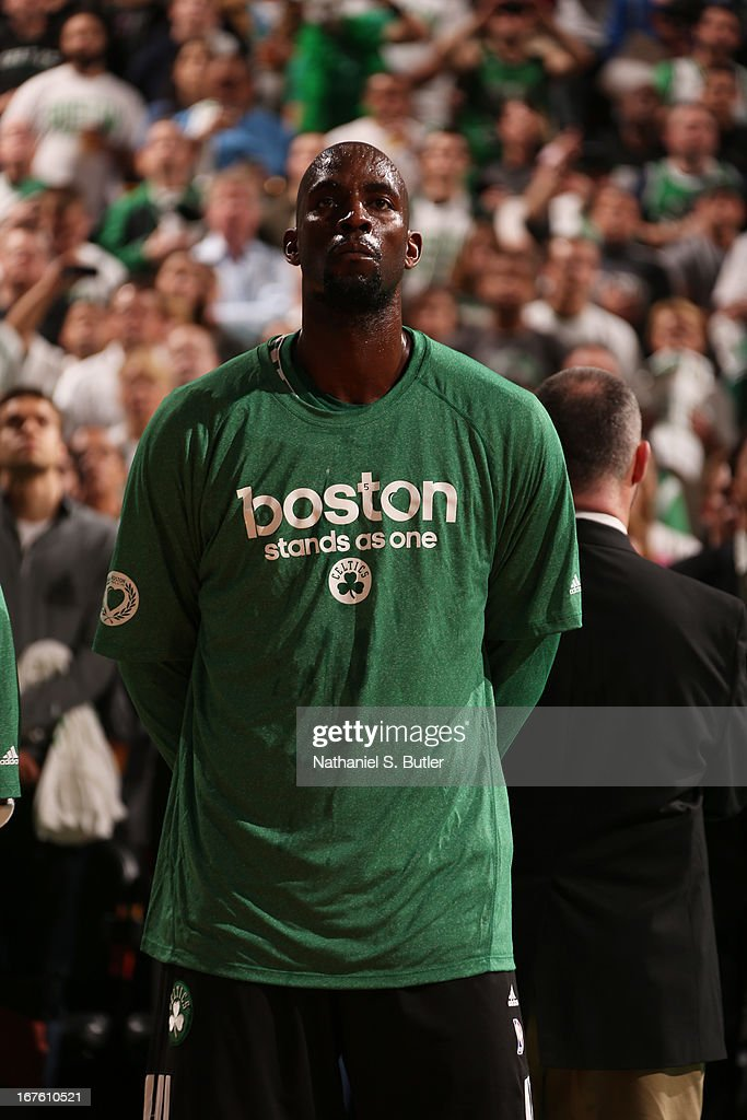 Kevin Garnett #5 of the Boston Celtics stands before Game Three of the Eastern Conference Quarterfinals during the 2013 NBA Playoffs on April 26, 2013 at the TD Garden in Boston.