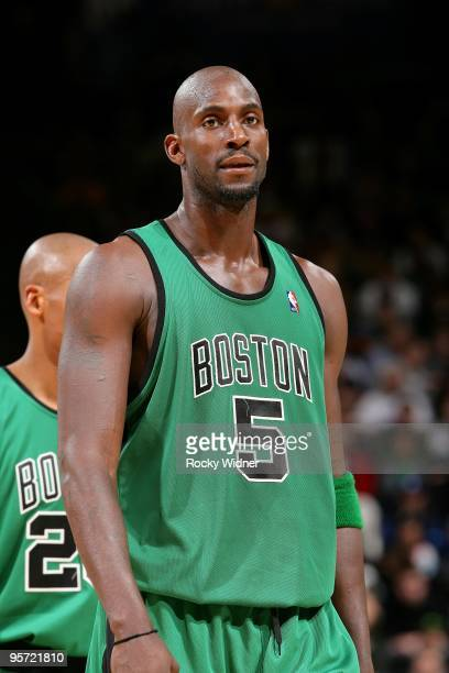 Kevin Garnett of the Boston Celtics takes a break from the action during the game against the Golden State Warriors on December 28 2009 at Oracle...