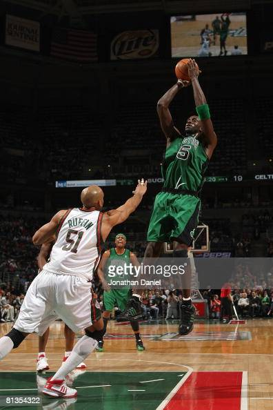 Kevin Garnett of the Boston Celtics takes a jump shot against Michael Ruffin of the Milwaukee Bucks during the game on April 8 2008 at the Bradley...
