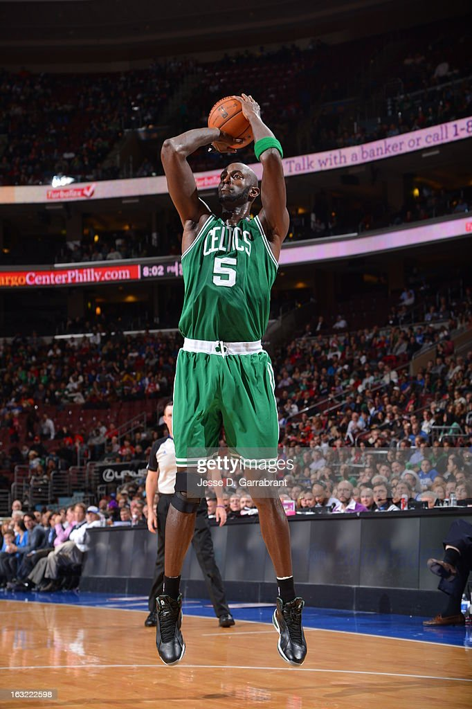 Kevin Garnett #5 of the Boston Celtics takes a shot against the Philadelphia 76ers on March 5, 2013 at the Wells Fargo Center in Philadelphia, Pennsylvania.