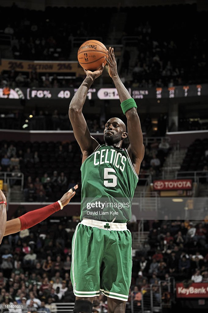 Kevin Garnett #5 of the Boston Celtics takes a shot against the Cleveland Cavaliers at The Quicken Loans Arena on January 22, 2013 in Cleveland, Ohio.