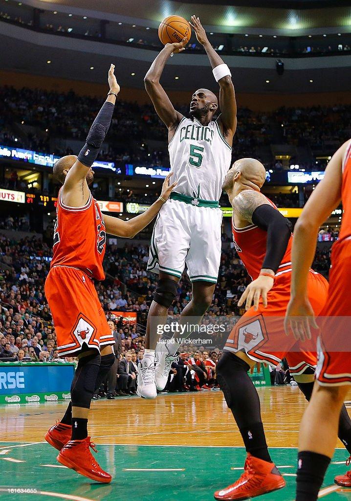 Kevin Garnett #5 of the Boston Celtics takes a shot against the Chicago Bulls during the game on February 13, 2013 at TD Garden in Boston, Massachusetts.