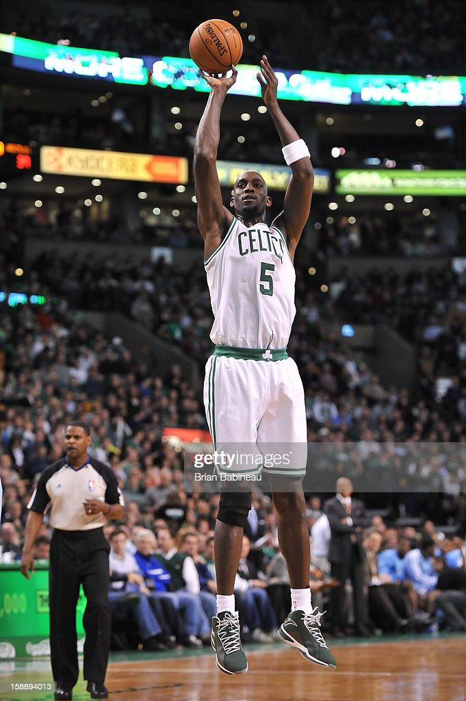 Kevin Garnett #5 of the Boston Celtics takes a shot against the Memphis Grizzlies on January 2, 2013 at the TD Garden in Boston, Massachusetts.