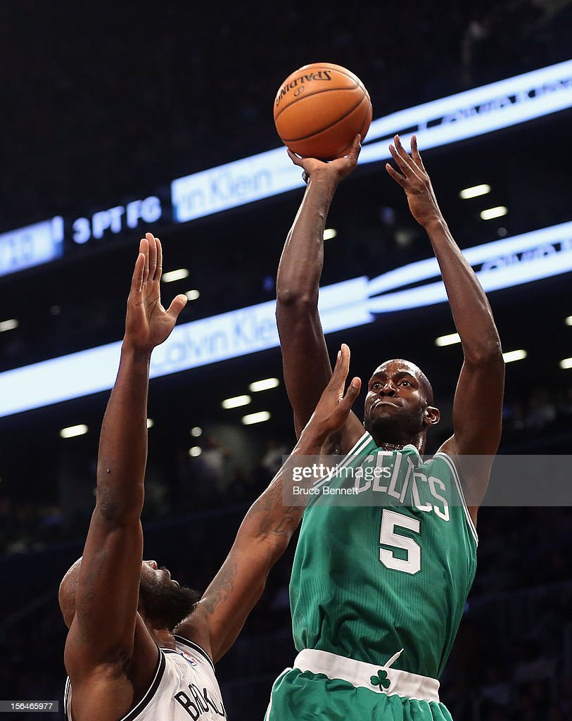 Kevin Garnett #5 of the Boston Celtics takes the shot against the Brooklyn Nets in the second quarter at the Barclays Center on November 15, 2012 in the Brooklyn borough of New York City.