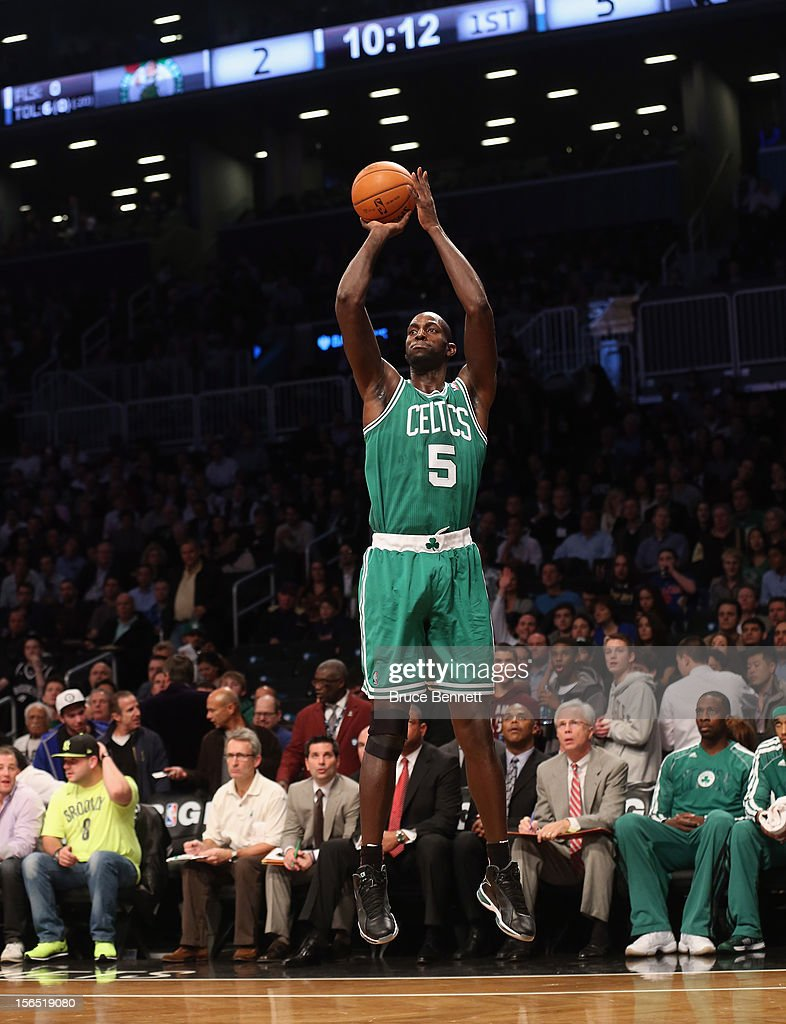 Kevin Garnett #5 of the Boston Celtics takes the shot against the Brooklyn Nets at the Barclays Center on November 15, 2012 in the Brooklyn borough of New York City.