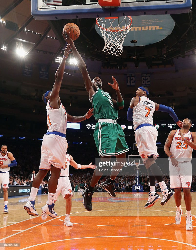 Kevin Garnett #5 of the Boston Celtics takes the shot against the New York Knicks at Madison Square Garden on January 7, 2013 in New York City.