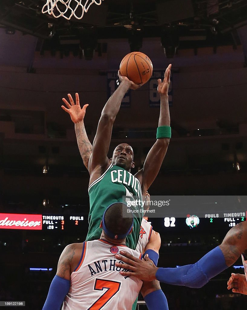 Kevin Garnett #5 of the Boston Celtics takes the shot against the New York Knicks at Madison Square Garden on January 7, 2013 in New York City.