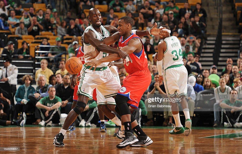 Kevin Garnett #5 of the Boston Celtics tries to block the shot against a player of the Philadelphia 76ers on October 21, 2012 at the TD Garden in Boston, Massachusetts.