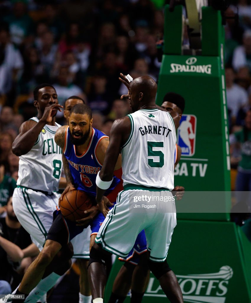 Kevin Garnett #5 of the Boston Celtics tries to block Tyson Chandler #6 of the New York Knicks during Game Six of the Eastern Conference Quarterfinals of the 2013 NBA Playoffs on May 3, 2013 at TD Garden in Boston, Massachusetts.