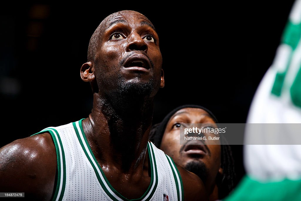 Kevin Garnett #5 of the Boston Celtics waits for a rebound against the Brooklyn Nets during a pre-season game on October 18, 2012 at the Barclays Center in the Brooklyn borough of New York City.