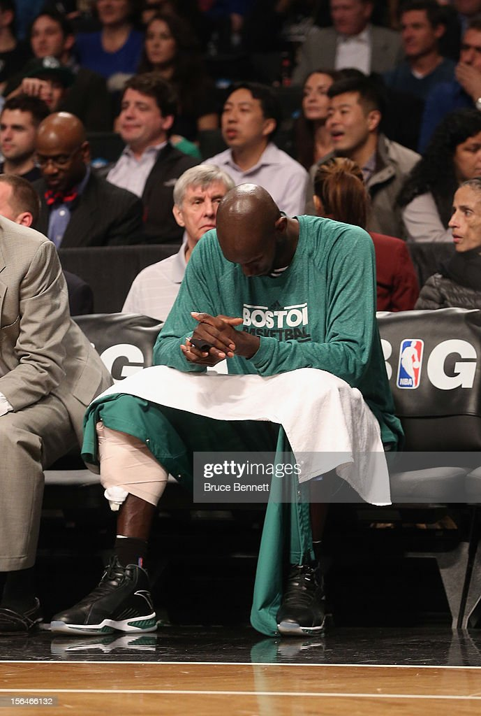 Kevin Garnett #5 of the Boston Celtics waits on the bench during the first quarter in the game against the Brooklyn Nets at the Barclays Center on November 15, 2012 in the Brooklyn borough of New York City.