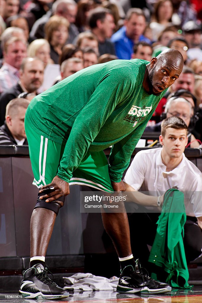 Kevin Garnett #5 of the Boston Celtics waits to check into a game against the Portland Trail Blazers on February 24, 2013 at the Rose Garden Arena in Portland, Oregon.