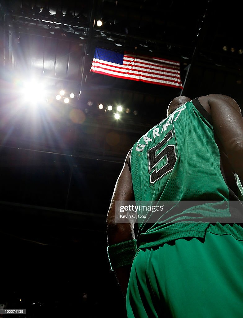 Kevin Garnett #5 of the Boston Celtics waits to inbounds the ball against the Atlanta Hawks at Philips Arena on January 25, 2013 in Atlanta, Georgia.