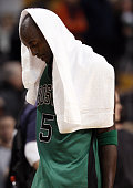 Kevin Garnett of the Boston Celtics walks off the court after the loss to the Oklahoma City Thunder on January 16 2012 at TD Garden in Boston...