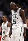 Kevin Garnett of the Boston Celtics walks off the court in the fourth quarter against the Chicago Bulls on January 13 2012 at TD Garden in Boston...