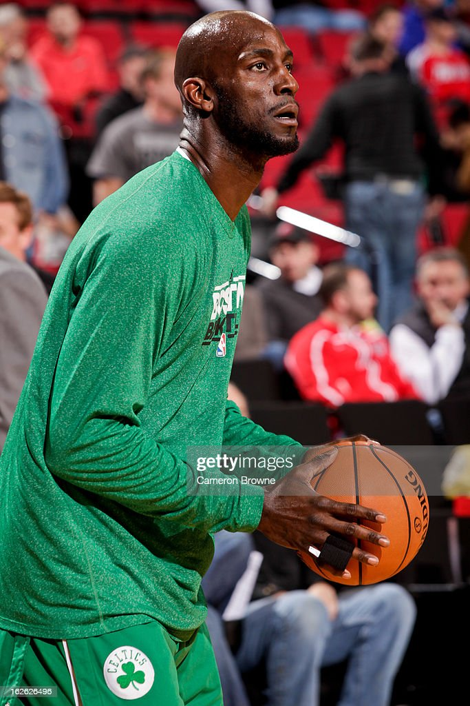 Kevin Garnett #5 of the Boston Celtics warms up before playing against the Portland Trail Blazers on February 24, 2013 at the Rose Garden Arena in Portland, Oregon.