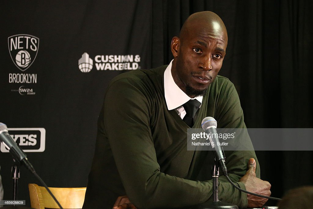 <a gi-track='captionPersonalityLinkClicked' href=/galleries/search?phrase=Kevin+Garnett&family=editorial&specificpeople=201473 ng-click='$event.stopPropagation()'>Kevin Garnett</a> #2 of the Brooklyn Nets answers questions after the game against the Boston Celtics during a game at TD Garden in Boston.