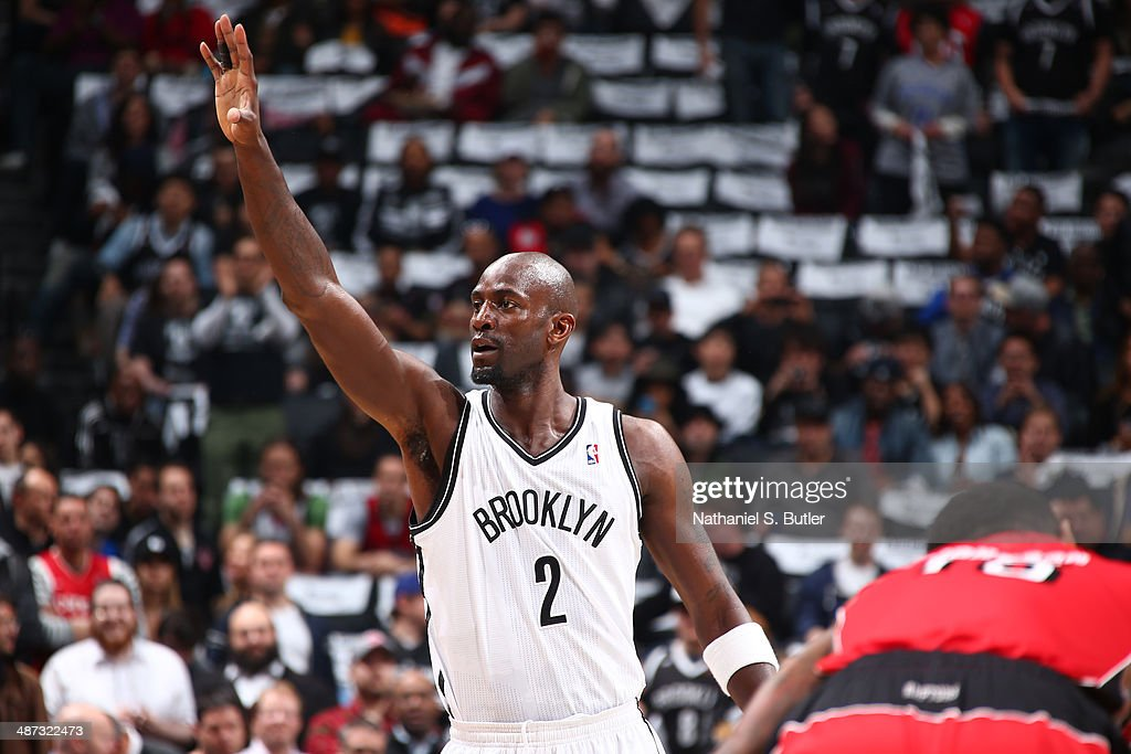 <a gi-track='captionPersonalityLinkClicked' href=/galleries/search?phrase=Kevin+Garnett&family=editorial&specificpeople=201473 ng-click='$event.stopPropagation()'>Kevin Garnett</a> #2 of the Brooklyn Nets calls a play against the Toronto Raptors during Game Four of the Eastern Conference Quarterfinals at Barclays Center in Brooklyn.