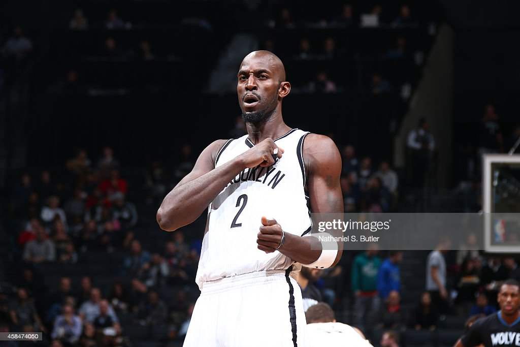 <a gi-track='captionPersonalityLinkClicked' href=/galleries/search?phrase=Kevin+Garnett&family=editorial&specificpeople=201473 ng-click='$event.stopPropagation()'>Kevin Garnett</a> #2 of the Brooklyn Nets celebrates during the game against the Minnesota Timberwolves on November 5, 2014 at Barclays Center in Brooklyn, New York.