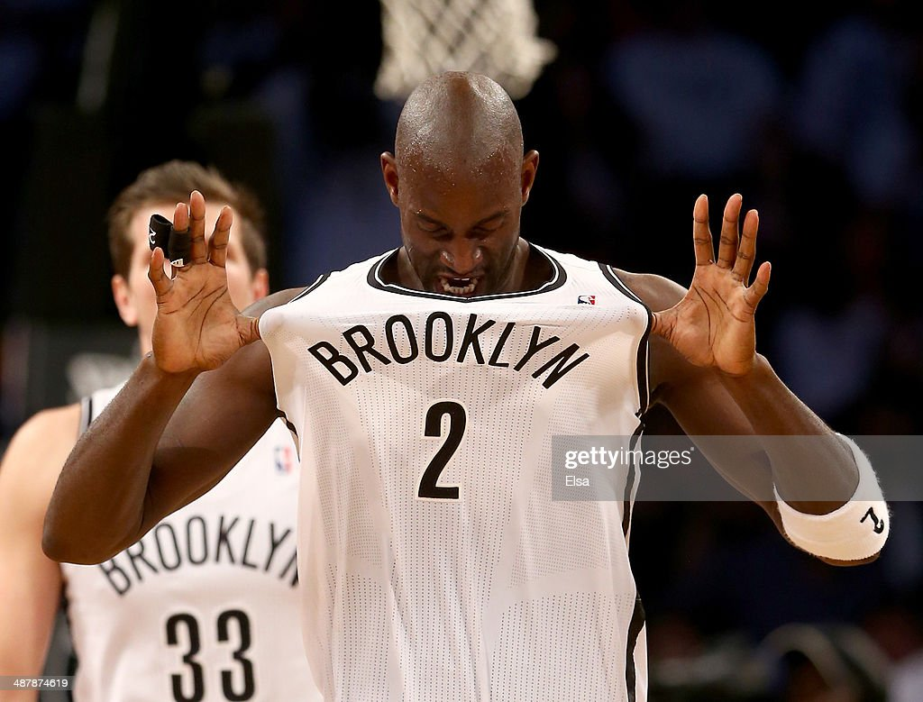 Kevin Garnett #2 of the Brooklyn Nets celebrates in the second half against the Toronto Raptors in Game Six of the Eastern Conference Quarterfinals during the 2014 NBA Playoffs at the Barclays Center on May 2, 2014 in the Brooklyn borough of New York City.