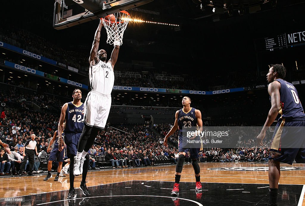 Kevin Garnett #2 of the Brooklyn Nets dunks during a game against the New Orleans Pelicans during a game at the Barclays Center on February 9, 2014 in the Brooklyn borough of New York City.
