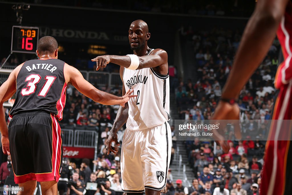 <a gi-track='captionPersonalityLinkClicked' href=/galleries/search?phrase=Kevin+Garnett&family=editorial&specificpeople=201473 ng-click='$event.stopPropagation()'>Kevin Garnett</a> #2 of the Brooklyn Nets during a preseason game against the Miami Heat at the Barclays Center on October 17, 2013 in the Brooklyn borough of New York City.