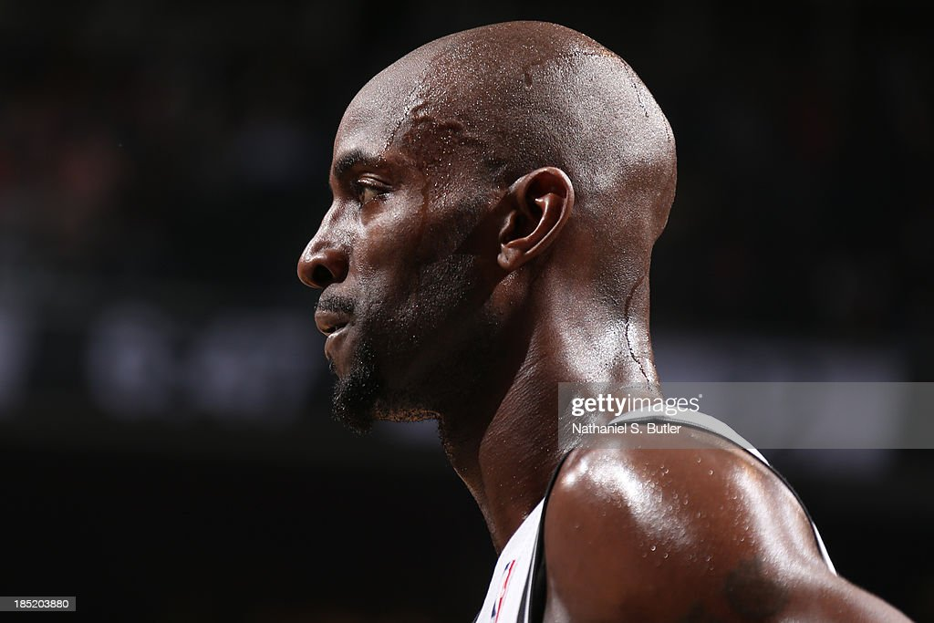 Kevin Garnett #2 of the Brooklyn Nets during a preseason game against the Miami Heat at the Barclays Center on October 17, 2013 in the Brooklyn borough of New York City.