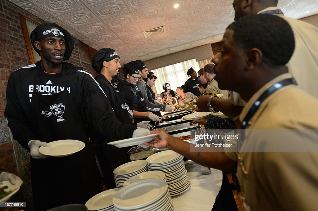 Kevin Garnett #2 of the Brooklyn Nets during a team event in celebration of Veterans Day at Ft. Hamilton, Brooklyn on November 11, 2013 in the Brooklyn borough of New York City.