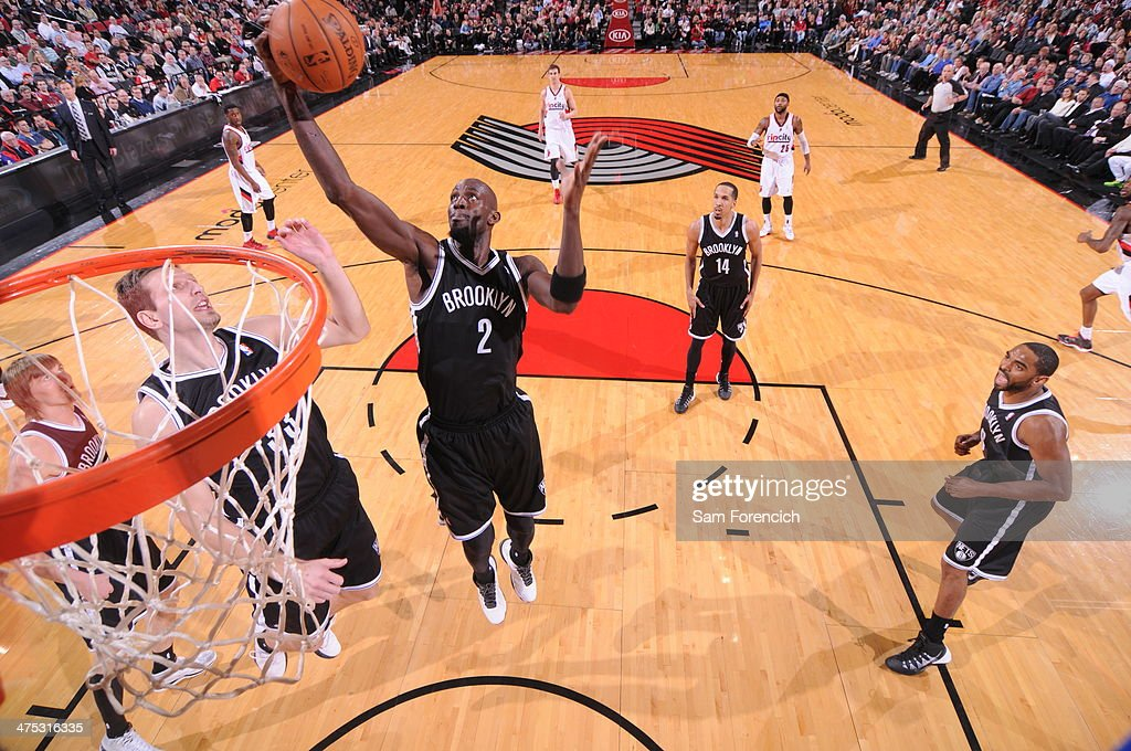 Kevin Garnett #2 of the Brooklyn Nets grabs a rebound against the Portland Trail Blazers on February 26, 2014 at the Moda Center Arena in Portland, Oregon.